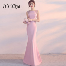 Its Yiiya Evening Dresses O-neck Pearls Sleeveless Elegant Party gowns Embroidery zipper back long Formal Prom dress C189