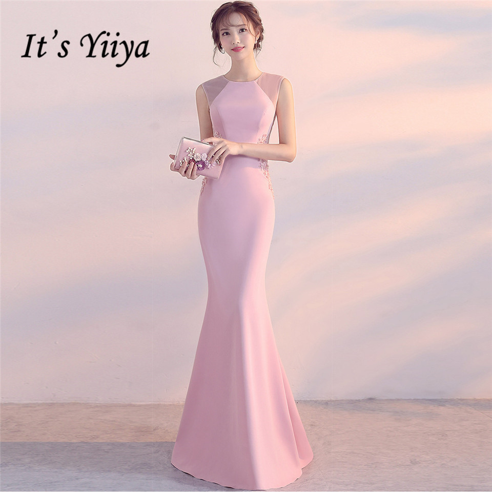 It's Yiiya   Evening     Dresses   O-neck Pearls Sleeveless Elegant Party gowns Embroidery zipper back long Formal Prom   dress   C189