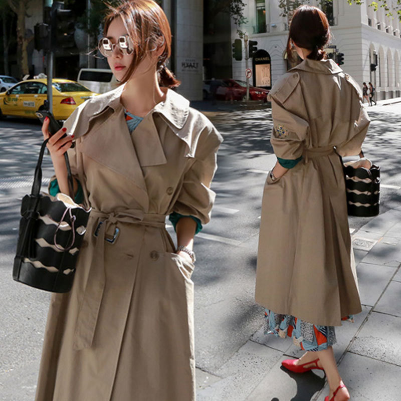 oversized brand 2018 spring Long Trench Coat For Women windbreaker coat woman Trench Outerwear Loose Sleeve embroidery Trench