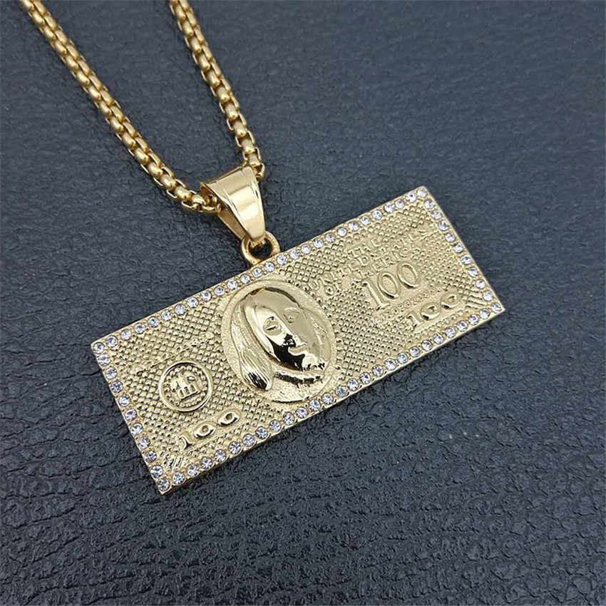 Hip Hop Iced Out Rhinestones 100 dolarów dolar pieniądze monety naszyjniki wisiorki męskie złoty kolor łańcuchy ze stali nierdzewnej dla mężczyzn biżuteria