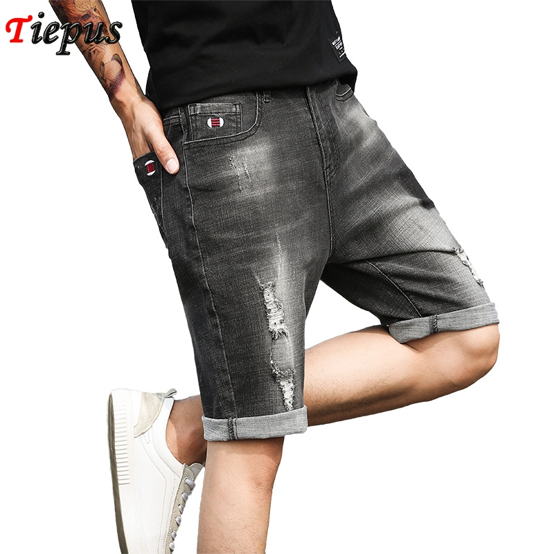 UUYUK-Men Fashion Ripped Distressed Straight Fit Cotton Denim Shorts