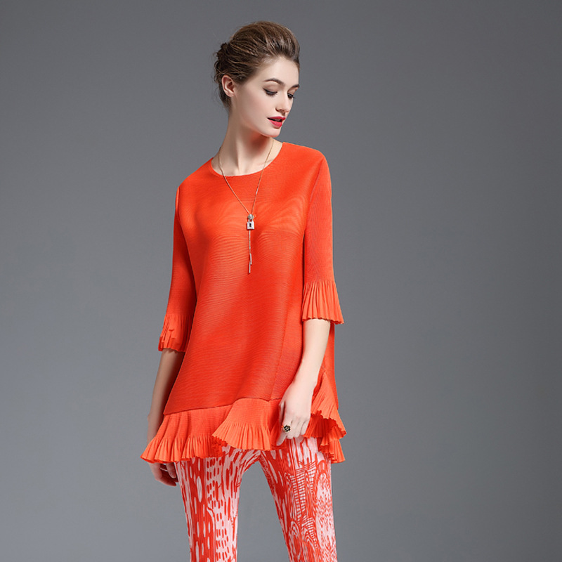 Spring Autumn Women Pleated Fashion New Tops Solid Color Lady Loose Elastic Tidal Shirts