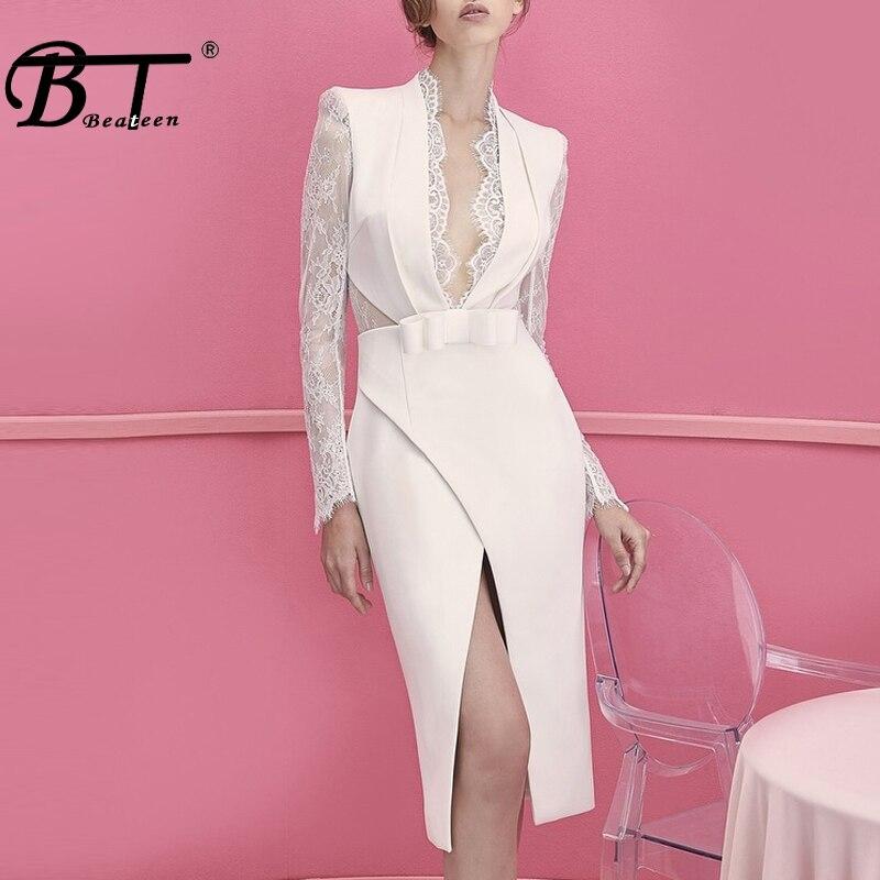 Beateen Women Fashion Lace Formal Party Dress Long Sleeve Split Deep V Neck Bodycon Dress 2018