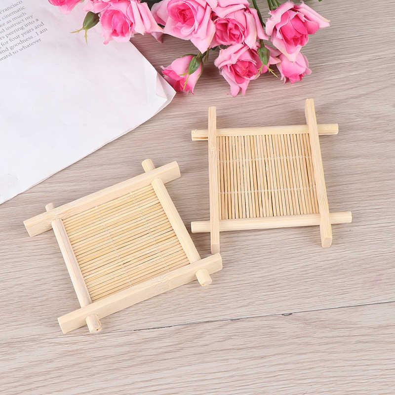 Caja contenedor para plato de ducha de baño, soporte de bandeja de jabón de madera Natural de bambú, plato de jabón, rejilla para guardar jabón de madera