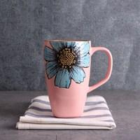 New 550ml Innovative Flower Ceramic With Scoop Coffee Milk Tea Drinking Cup Handmade Cup Drinkware Home Gift Water Cup