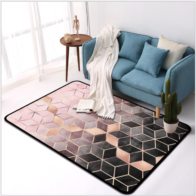 100*150cm Rrectangle Modern Livingroom/Bedroom Carpet 3D Geometric Area Carpet Kid's Rug Wooden Floor Protection Mat Home Decor image