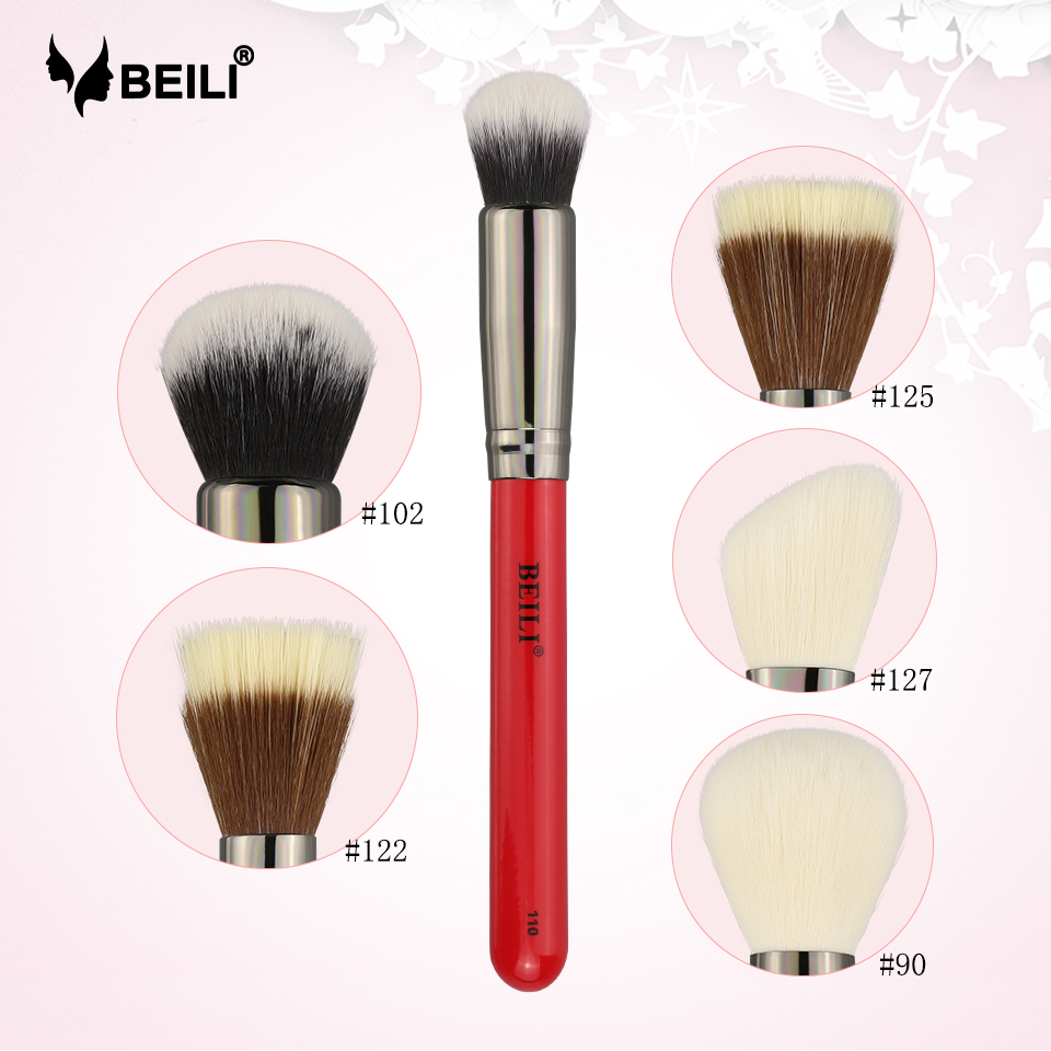 BEILI Foundation Makeup Brush 1pcs Powder Wool Fiber Blusher Concealer Contour 110/102/122/125/127/90 Professional Natural Hair
