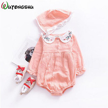FREE SHIPPING !! Baby Girl Rompers Embroidered Newborn One-piece Jumpsuits Long Sleeve Outfits JKP867