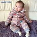 Inverno Macacão de Bebê Unissex Listrado Coral Fleece Sleepwear Manga Longa Com Capuz De Veludo Quente Romper Macacão de Bebê Menino Roupas de Menina