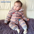Winter Unisex Baby Rompers Striped Coral Fleece Long Sleeve Sleepwear Hooded Velour Romper Warm Jumpsuit Baby Girl Boy Clothes