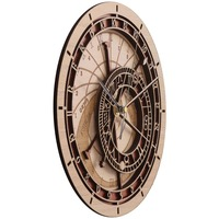 Prague astronomical clock creative livingroom mute wall clock 12 constellations classical wall clock Wooden quartz clock 3d