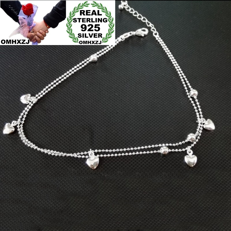 OMHXZJ Wholesale European Fashion Woman Girl Party Birthday Wedding Gift Two Layers Heart Ball 925 Sterling Silver Anklet JA06