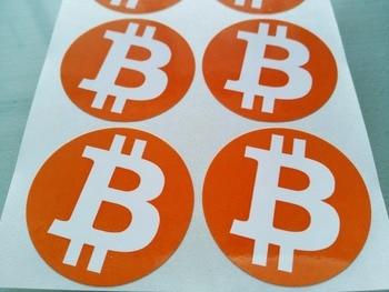 4000pcs/lot diameter 4cm bitcoin logo stickers Self-adhesive cryptocurrency label, Item No.FS18