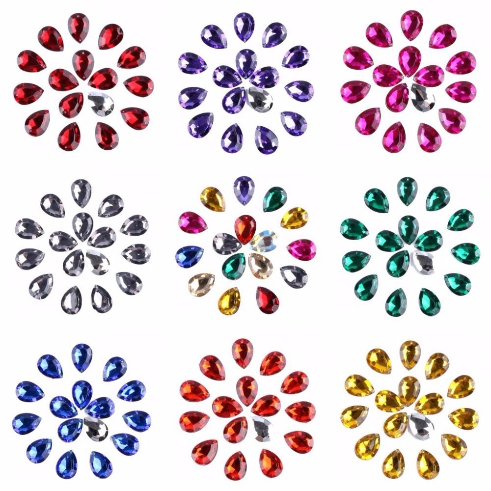 twilingh 50pcs / bag 13 * 18MM pointback akril kristály gyöngyök - Művészet, kézművesség és varrás