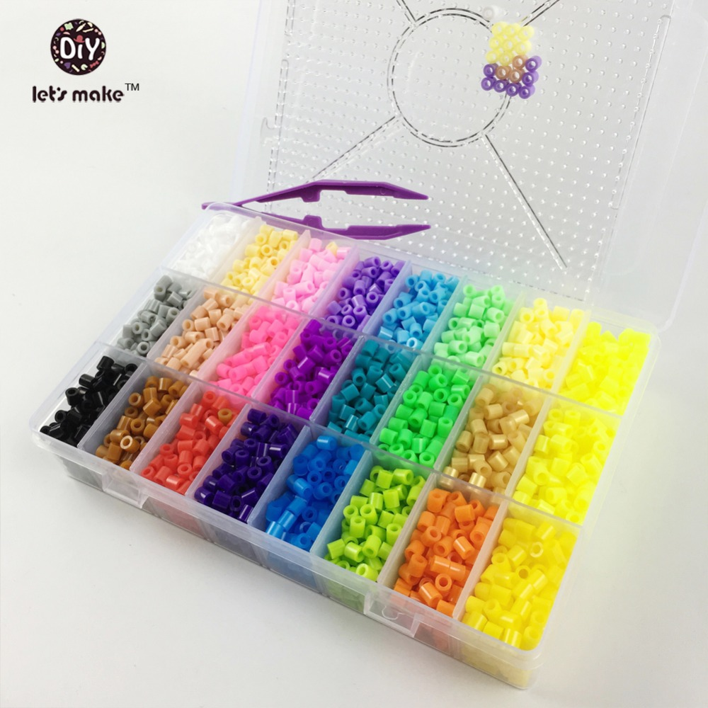 Let's Make Hama Beads 5000PC Perler Beads 5mm 24colors Box Set Educational Kids Diy Toys Beads Plussize Pegboard Ironing Beads artkal mini beads 36 color box set funny food grade eva educational toys diy hama beads handmade gift cc36 page 2