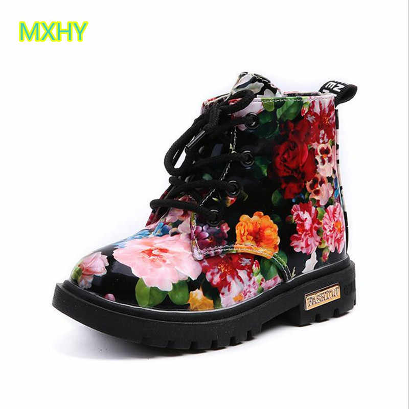 Kids Sneakers Autumn And Winter Children Flaming leather Boots boys girls faboots baby cotton shoes 21-30 casual child shoes