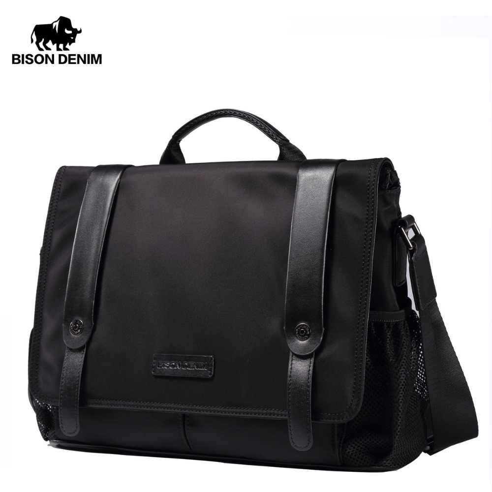 114dbd40b61757 BISON DENIM Men Shoulder Bag Cotton Waterproof Male satchel Bag Casual Messenger  Bag For IPad Laptop