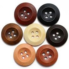 ZIEENE 10 шт-100 шт Смешанные 7 цветов круглые Bevelling деревянные пуговицы 4 отверстия 15 мм Швейные поделки своими руками и Скрапбукинг для женской рубашки