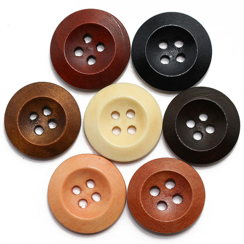 ZIEENE 10PCs-100PCs Mixed 7 Colors Round Bevelling Wooden Buttons 4 Holes 15mm Sewing DIY Crafts Scrapbooking For Women Shirt