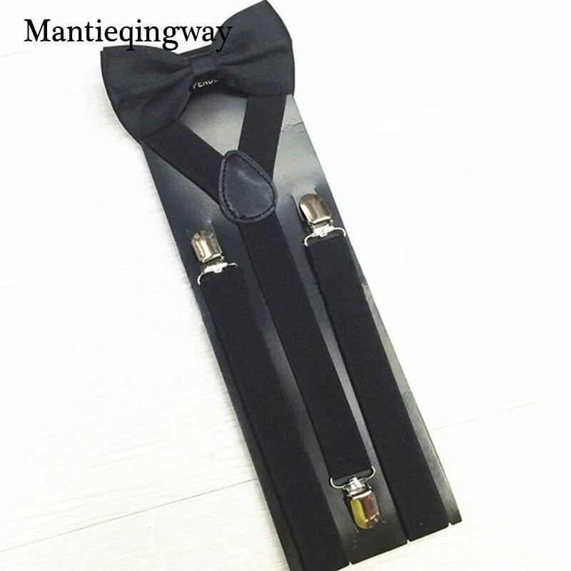 Mantieqingway Brand Black Suspender Thin Braces Men Accessories Adjustable 3 Clip-on Suspenders For Women Solid Mens Bow Ties