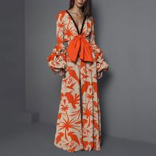 Women Elegant Bowknot Boho Long Sleeve Jumpsuit Casual Beach Party Print Wide Leg Romper Loose Deep V Neck Spring Summer