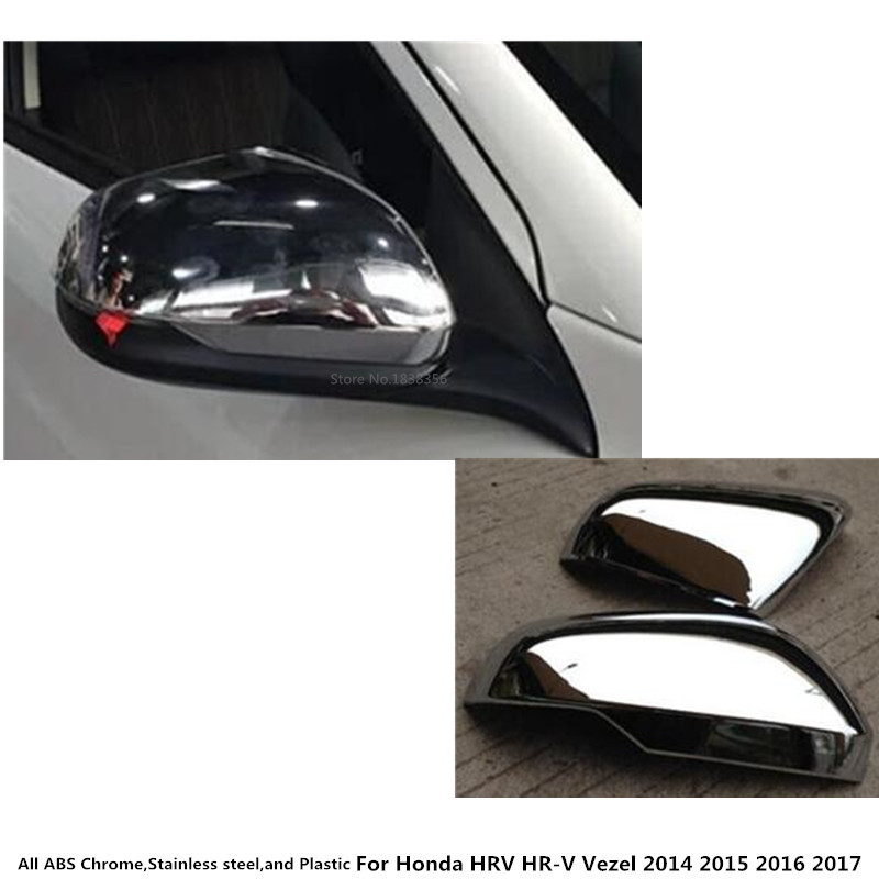 For <font><b>Honda</b></font> <font><b>HRV</b></font> HR-V Vezel 2014 2015 2016 2017 2018 car decoration rear view Rearview <font><b>Side</b></font> glass <font><b>Mirror</b></font> Cover trim frame 2pcs image