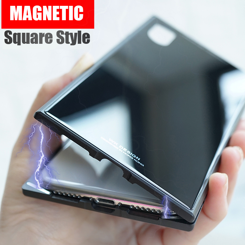 Magneto pro Square Magnetic case for iphone X iphone 7 case luxury metal bumper+tempered glass back cover for iphone 7 8 plus