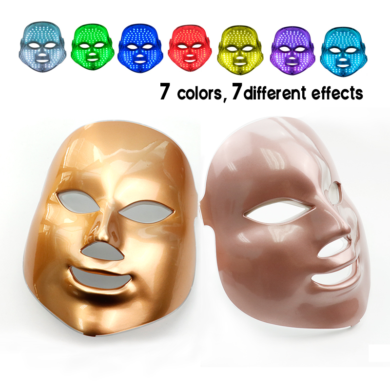 Gold 7 Color PDT Photon LED Facial Mask Tighten Pores Skin Rejuvenation Wrinkle Removal Therapy Face