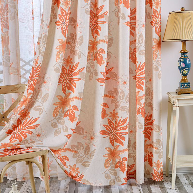 New Europe Orange Leaf Striped Blackout Curtains Semi-Shade Polyester Tulle Curtain General Pleat Hook Curtains for Living Room
