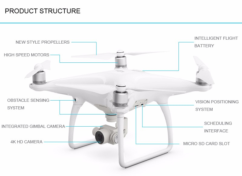 2016 Newest camera drone DJI Phantom 4 RC Helicopter drone