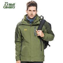 2017 CavalryWolf Winter Softshell Jackets Men 2 Piece Waterproof Windproof Coat Outdoor Camping Sport Hiking Hunting Ski Jackets