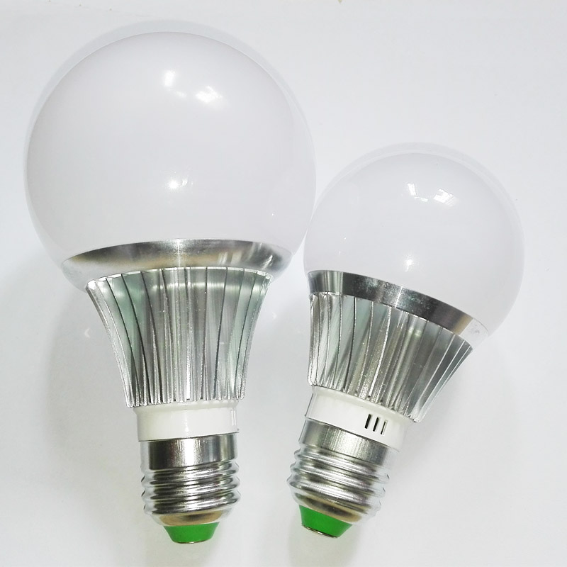 E27 LED Bulb light Aluminum Alloy Lamp AC85~265V 3W/5W/7W LED Household Lighting high Brightness Silver Metal, White/Warm white hzled e27 5w 450lm 3200k 48 x smd 3014 led warm white light lamp white silver ac 85 265v