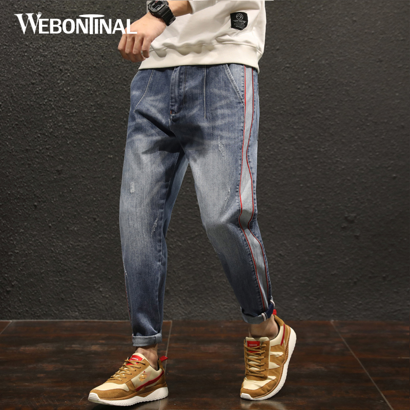 WEBONTINAL 2018 Spring Distressed Streetwear Hiphop Harem Jeans Men Denim Trousers Casual Fashion Loose Hip Hop Patchwork 8325