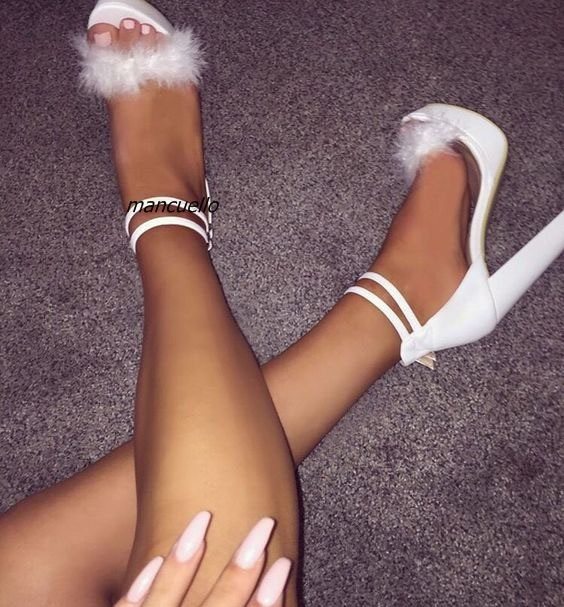 455c281b43ce Fancy Buckle Style Block Heel Platform Sandals White PU Leather Fur  Decorated Open Toe Chunky Heel Dress Sandals Comfy DateShoes