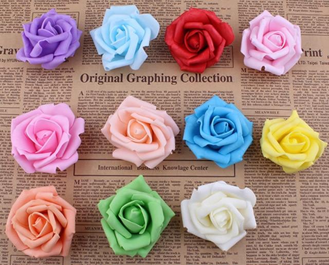 100 unids / lote 7 cm Espuma Artificial Rose Heads Real Touch DIY - Para fiestas y celebraciones - foto 1