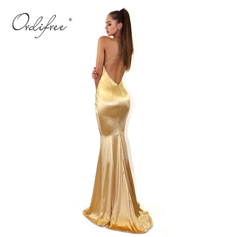 a83219d345 Ordifree 2019 Summer Elegant Women Long Party Dress Satin Silk Slip Dress  Floor Length Gold Backless Sexy Bodycon Mermaid Dress