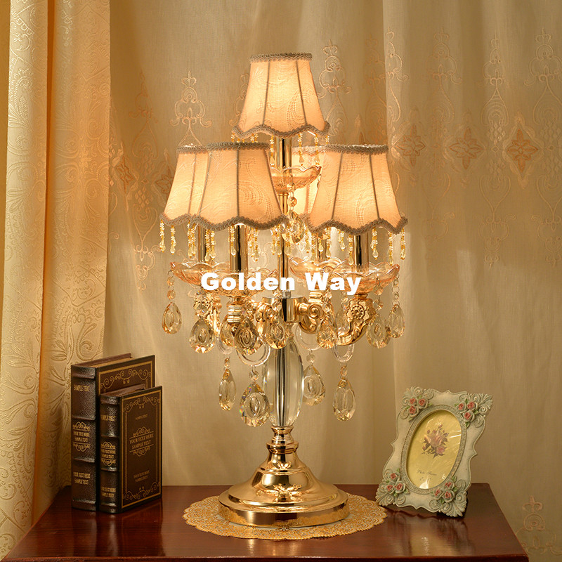 Free Shipping Modern Crystal Table Lamps For Living Room Bedroom Alloy Golden Lamp Shades Bedside Design Crystal Table/desk Lamp To Rank First Among Similar Products Led Table Lamps