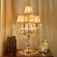 Free Shipping Modern Crystal Table Lamps For Living Room Bedroom Alloy Golden Lamp Shades Bedside Design Crystal Table/Desk Lamp