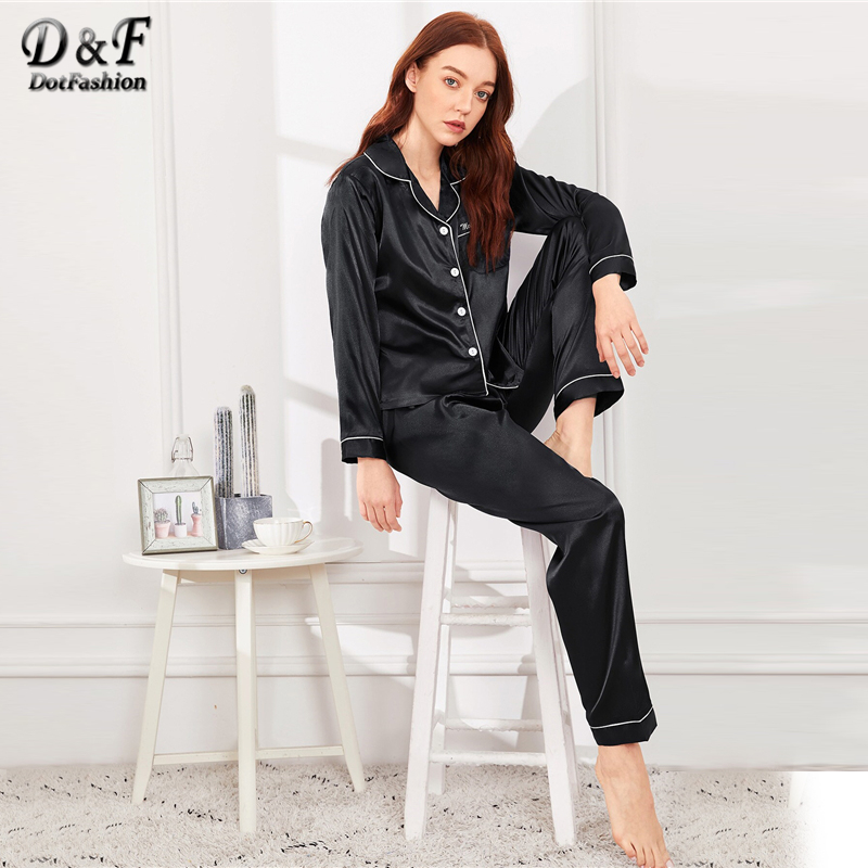 Dotfashion Black Button Letter Embroidered Satin Pajama Set 2019 Casual Pajamas For Women Spring Summer Long Sleeve Nightwear-in Pajama Sets from Underwear & Sleepwears