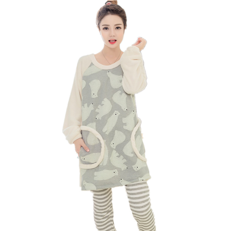 2017 Autumn Winter Cute Pajamas women Sets Female Warm ...
