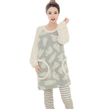 2016 Autumn Winter Cute Pajamas women Sets Female Warm Lovely Polar Bear Pattern tops with strip pants two-pice Suits H16