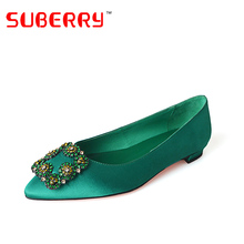 SUBERRY China Party Flat Handmade Luxury Women Designers 2017 Ladies Pointed Toe Diamond Shoes rhinestone shoes flats size 43
