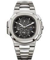 Элитный бренд Новый хронограф мужские часы СЕКУНДОМЕР САПФИР нержавеющая сталь Спорт водостойкий серебристый, синий черный Dual Time Zone AAA +