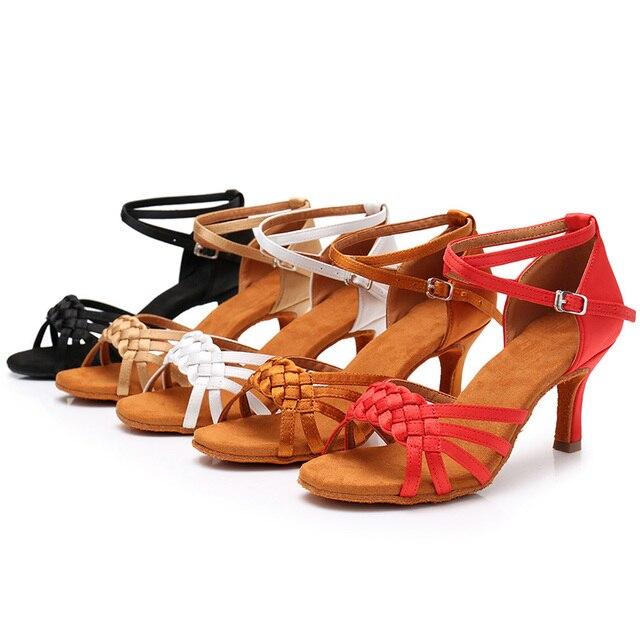 New Women's Latin Dance Shoes Ballroom Tango Ladies Girls Comfortable Satin Dancing Shoes For Women Grils Red White 5/7CM Heel 4
