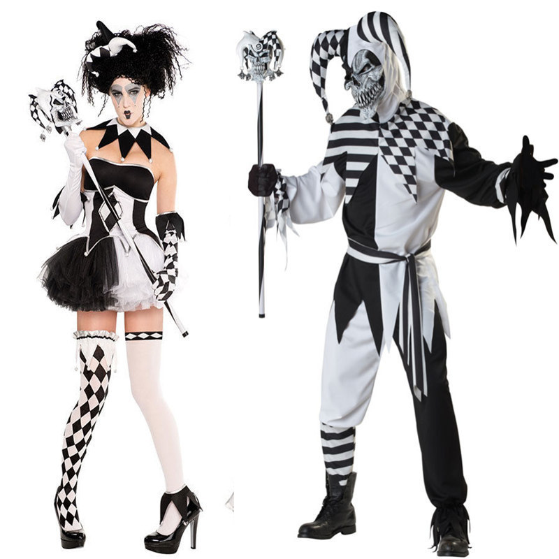 New Blackwhite Couple Clown Costume Halloween Costumes Game