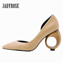 Jady Rose 2018 New Strange Heel Women Pumps Pointed Toe High Heels Female Wedding Dress Shoes Woman Stiletto Valentine Shoes(China)