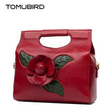 TOMUBIRD new superior cowhide leather Designer Inspired Dimensional Flower Ladies Handmade Leather Tote Satchel Handbags
