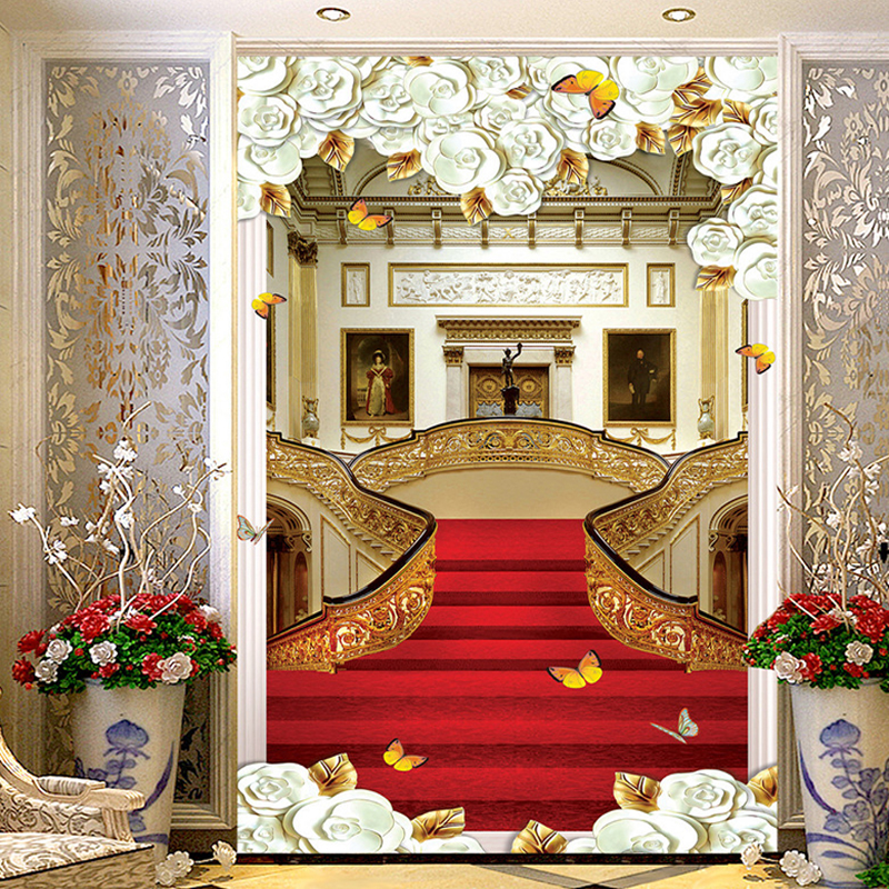 High Quality European Style Stair Carpet Photo Wall Murals Wallpaper Living Room Hotel Entrance Hallway Backdrop Wall Papers 3 D