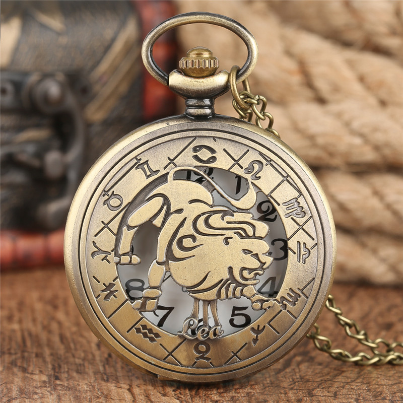 Twelve Constellations Leo Bronze Copper Quartz Pocket Watch Lions Design Pendant Necklace MenS Women Watch Chain Boys Girls Gift