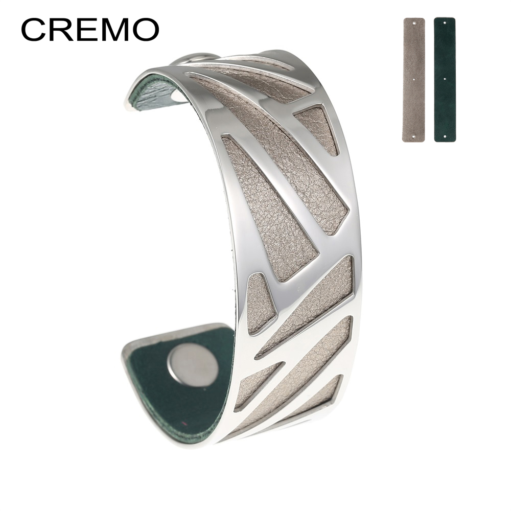 Cremo Opening Ribbon Cuff Hollow Cuff Leather Bangle Bracelet Reversible Bracelet Stainless Steel 25mm Leather Bracelet & Bangle